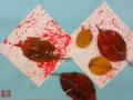 秋いっぱい: あっちこっち向いた葉っぱもあれば・・きっちりと並んだ葉っぱもあります。
