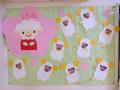 リス組「小さなひつじ」:かわいいひつじっ子の写真が飾られました。 制作は職員です。