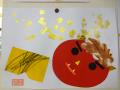 鬼の福笑い: 画用紙いっぱいに飛び散った豆に鬼もびっくりです。上手に絵具を使えました。