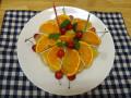 4月 おめでとう!: リンゴの寒天の中に3種類の夏みかんにセミノールとさくらんぼの飾りつけです。