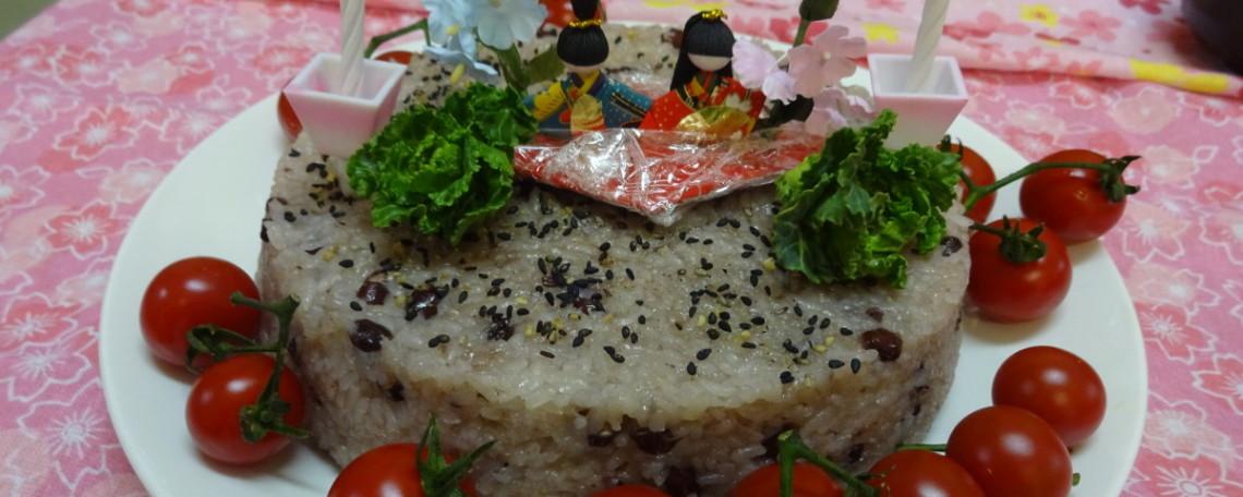 子ども用にもち米とお米、1:1で炊きました。