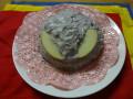 おやつ: 兜型蒸しパン(あずき豆乳クリーム)