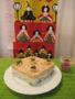 菱餅風ごはんケーキ(色は鮭とあおさで。菜の花をデコレーション)