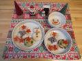 ツリーは、マッシュポテト。雪だるまは、ご飯と京人参。